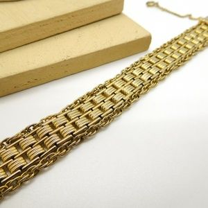 Vintage Yellow Gold Tone Link And Chain Bracelet